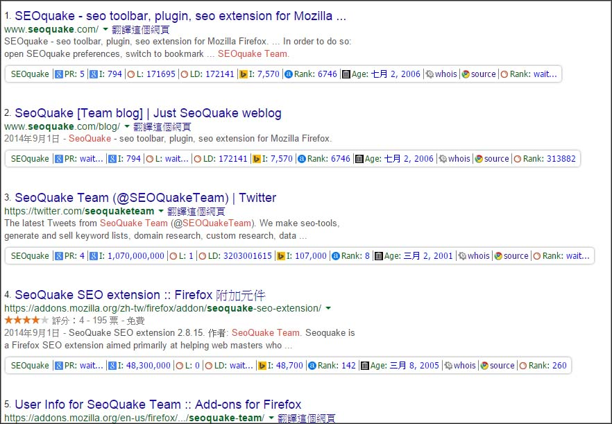 使用seoquake後看到的頁面