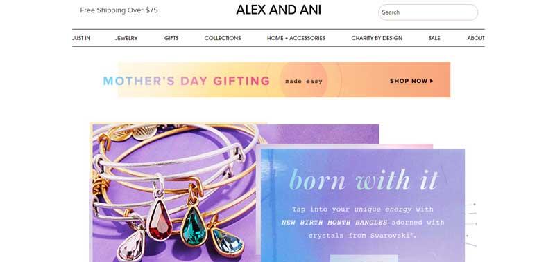 珠寶網站設計實例--Alex and Ani