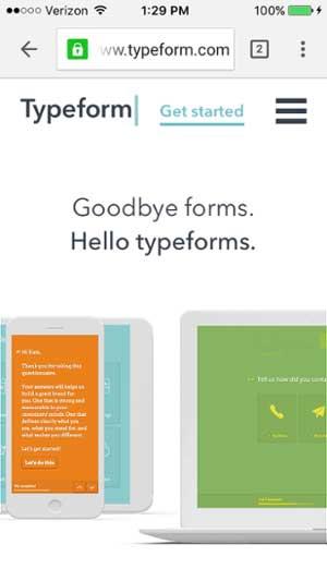 移動網站設計範例--typeform-mobile